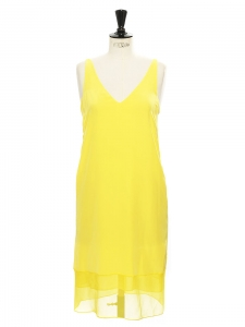 Large strap V neck bright sunny yellow silk dress Retail price $350 Size 34
