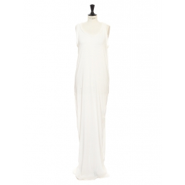 Ivory white cotton and silk long maxi shirt dress Retail price €1200 Size 36/38