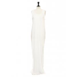 Robe longue sans manches en coton et soie blanc ivoire Prix boutique 1200€ Taille 36/38