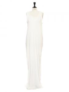 Ivory white cotton and silk long maxi shirt dress Retail price €1200 Size 36/38