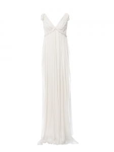 Ecru white pleated chiffon gown Retail price €4400 Size S