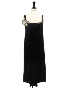 Black silk satin dress embellished with Swaroski crystals and silk flower Retail price €2000 Size 38