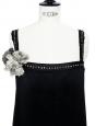 Robe sans manches en satin de soie noir avec cristaux et fleurs Px boutique 2000€ Taille 38