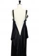 Black silk satin dress embellished with Swaroski crystals and silk flower Retail price €2000 Size 38