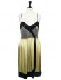 Robe à bretelles fines en soie vert tilleul brodée de perles noires et argent Px boutique 5000€ Taille 38
