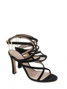 Fynn black suede strappy buckle chain detail heel sandals Retail price €650 Size 36