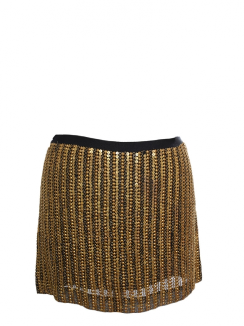 Copper gold sequin embroidered silk mini skirt Retail price $495 Size 36