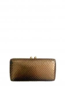 Pochette minaudière clutch en cuir doré embossé peau exotique Px boutique 270€