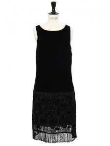 Black velvet fringed sleeveless dress Size 36