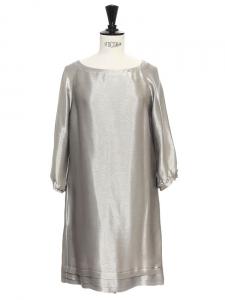 Metallic silver gold lurex cocktail dress Retail price €1200 Size XS