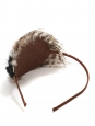 Brown, cream and black feather headband Unique size