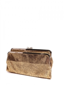 LUCE Copper gold stingray embossed leather wallet clutch Retail price €400