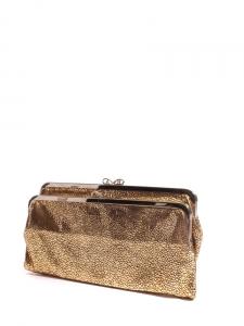 Pochette portefeuille LUCE en cuir imitation galuchat bronze doré Px boutique 400€