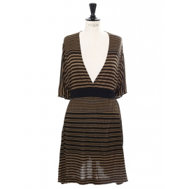 Black and khaki green striped linen-blend dress Retail price €700 Size 36