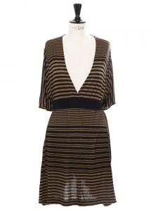 Robe courte en lin mélangé rayé kaki et noir Px boutique 700€ Taille 36