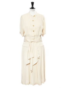 Beige silk crepe pleated dress with gold buttons Size 38