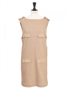 Camel brown cotton sleeveless dress with gold buttons Retail price €850 Size S