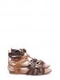 Sandales plates Gladiator en cuir marron clair et brun foncé Prix boutique 520€ Taille 37,5