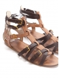 Tan and dark brown leather Gladiator flat sandals Retail price €520 Size 37.5