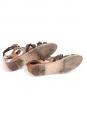 Sandales plates Gladiator en cuir marron clair et brun foncé Px boutique 520€ Taille 37,5