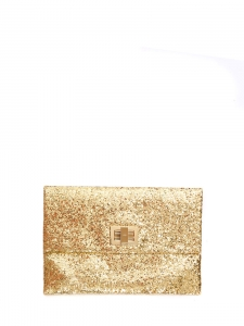 VALORIE Gold glitter leather fold-over clutch Retail price $550