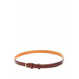 Chocolate brown leather belt with gold brass buckle Retail price €430 Size L