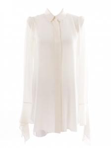 Ivory white silk crepe blouse dress Retail price €730 Size 38
