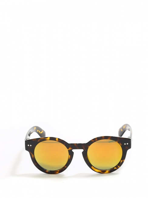 84b914c62ff Dark brown and fox red tortoiseshell round shape sunglasses with yellow  mirror lenses NEW