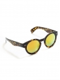 Dark brown and fox red tortoiseshell round shape sunglasses with yellow mirror lens