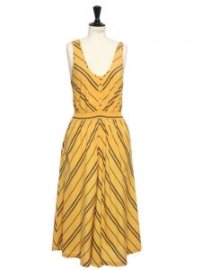 Robe longue sans manches en coton jaune moutarde et anthracite Taille 36/38