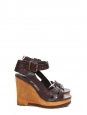 Chocolate brown grained leather and wooden wedge heel sandals Retail price €550 Size 36