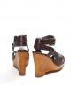 Sandales compensées talon bois en cuir marron PAS TROUVEES