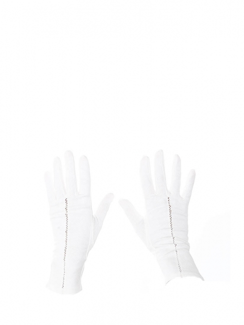White openwork cotton gloves Size S