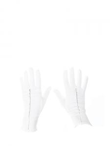 Gants fins en coton blanc avec détail ajouré Taille S