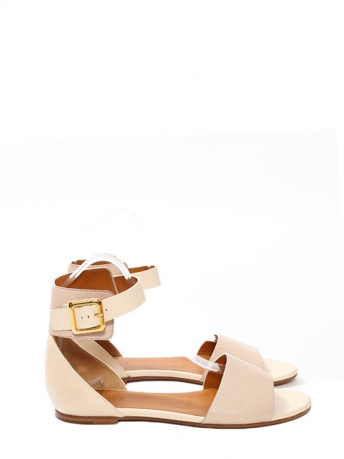 Pale pink and nude leather LAZISE flat sandals Retail price €475 Size 38