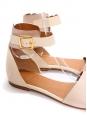 Sandales plates LAZISE en cuir beige et rose poudre Px boutique 475€ Taille 38