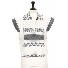 Ecru and black ethnic print cotton top Retail price €300 Size 1