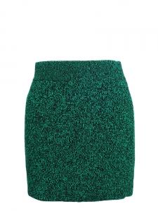 Mini jupe stretch moulante en laine tricotée verte et noire Px boutique 150€ Taille 36/38