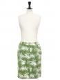 Jupe en jean imprimé végétal vert et blanc Px boutique 600€ Taille 38
