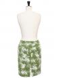 Jupe en coton stretch imprimé végétal vert et blanc Px boutique 600€ Taille 38