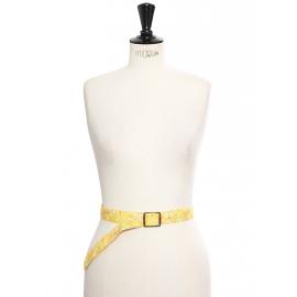 Ceinture fine en coton jaune à fleurs et boucle écailles Taille 36 à 40