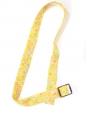 Ceinture fine en coton jaune à fleurs et boucle écaille Taille 36 à 40