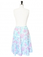 Blue, pink and white printed cotton midi skirt Size S/M