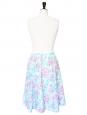 Jupe mi-longue en coton imprimé fleuri bleu, rose et blanc Taille 36/38