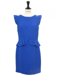 Royal blue crepe ruffle sheath dress Retail price €185 Size 36