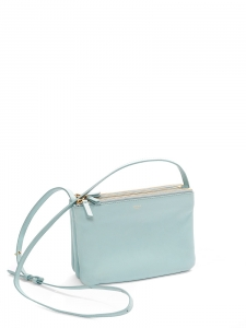 Sky blue TRIO leather cross body pouch bag Retail price €780