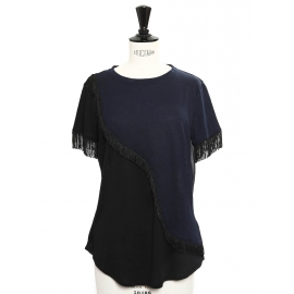 Navy blue and black fringed short sleeved top Retail price €110 Size 36