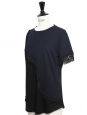 Navy blue and black fringed short sleeved top Retail price €110 Size 38