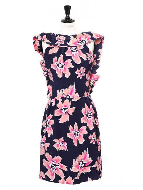 Robe dos nu à volants en faille de soie imprimé fleuri rose et bleu marine Px boutique 2500€ Taille 38