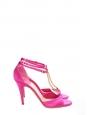 Sandales à talon salomé bout ouvert en satin rose fuchsia et strass NEUVES Px boutique 750€ Taille 38,5